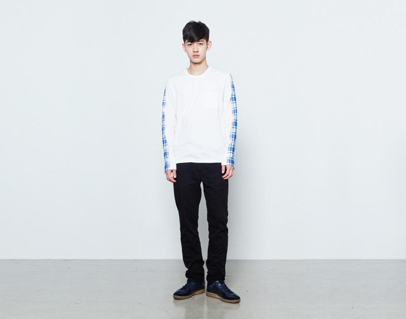 Aloye – pánské bílé tričko, dlouhé modré rukávy, mikina | Japonská móda