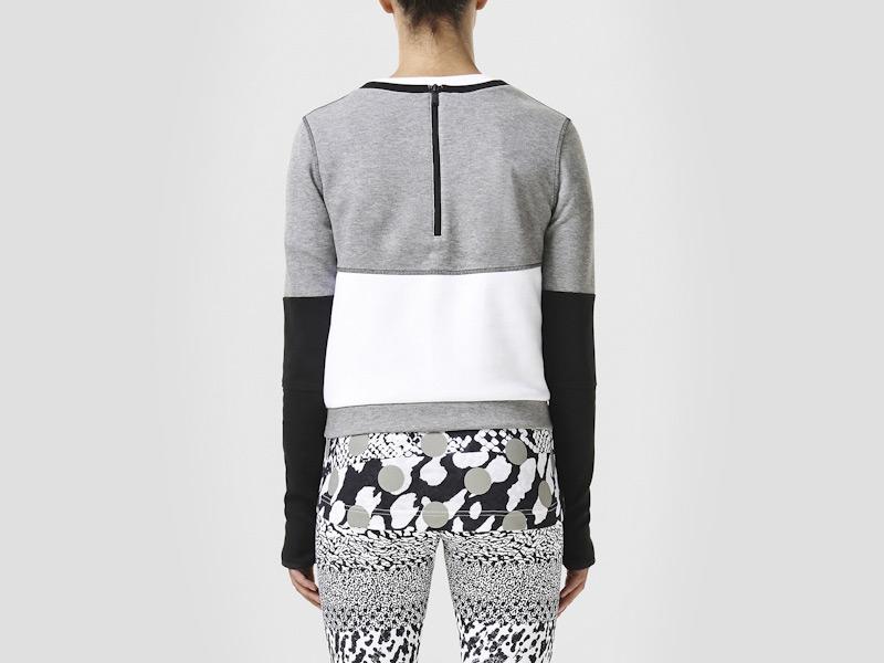 Nike – sportovní mikina dámská, bílo-šedá, černé rukávy, zip na zádech | Color Block