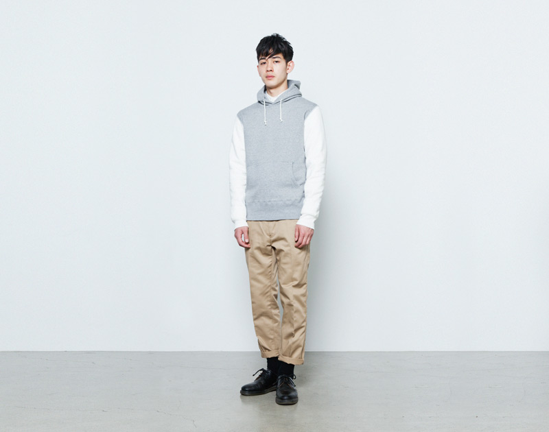 Aloye – pánská mikina s kapucí, šedá, bílé rukávy | Japonská móda