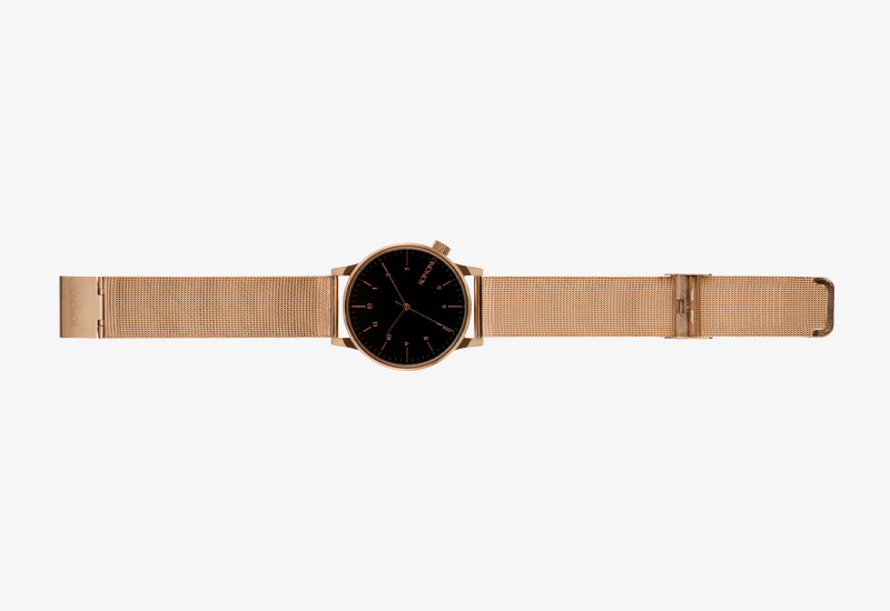 Hodinky Komono Winston Royale – zlaté barvy, černý ciferník, gold, black | Pánské a dámské náramkové hodinky