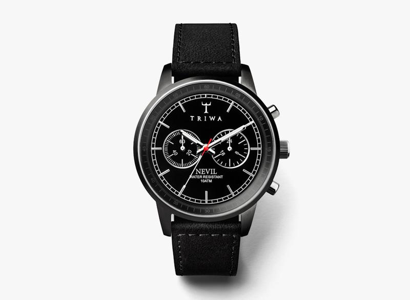 Hodinky Triwa – pánské – černé ocelové pouzdro, černý kožený řemínek – Midnight Nevil | Náramkové luxusní hodinky