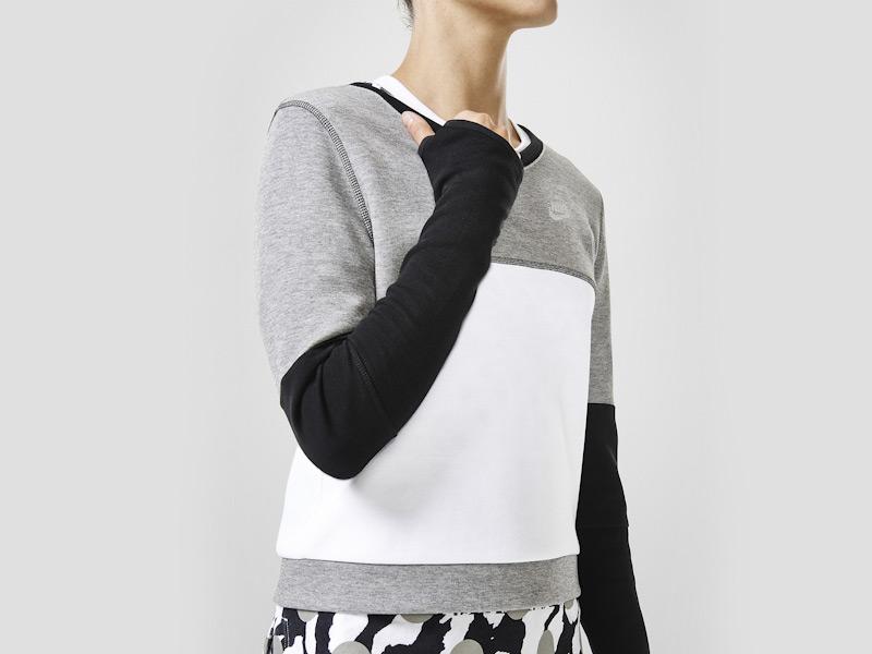 Nike – mikina pro ženy, bílo-šedá, černé rukávy | Color Block