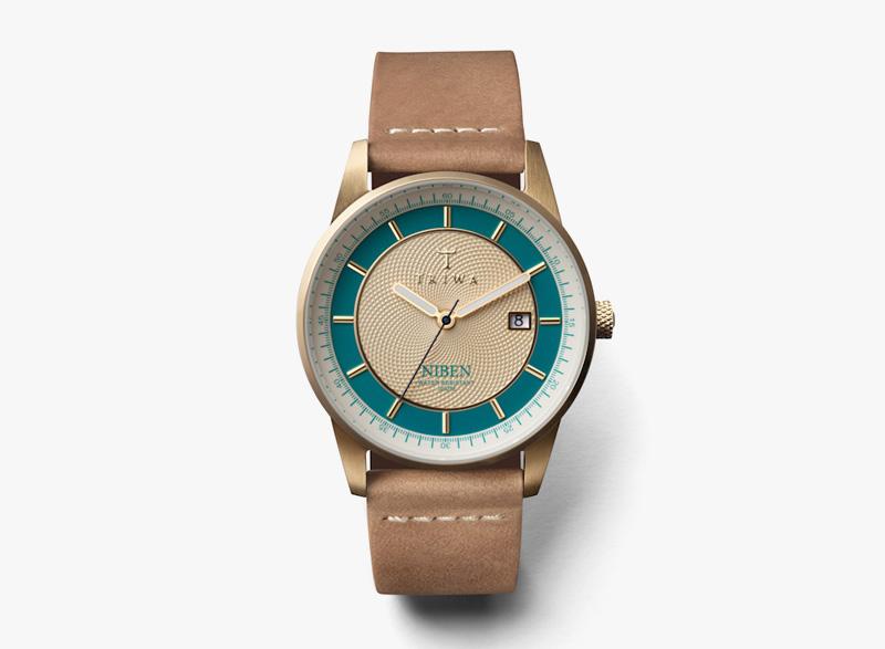 Hodinky Triwa – dámské – světle hnědý kožený řemínek, zeleno-bílý ciferník – Jade Niben | Náramkové luxusní hodinky