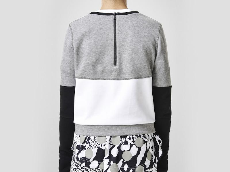 Nike – dámská mikina, bílo-šedá, černé rukávy | Color Block
