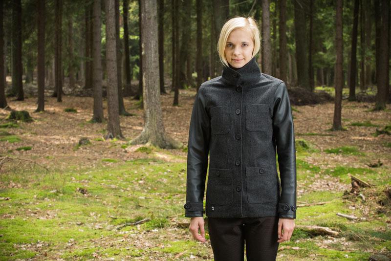 Pattern – dámský kabátek, bunda, kožené rukávy, černá | Dámské oblečení