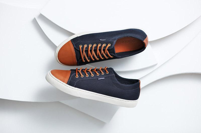 Boty Pointer – pánské, dámské – podzimní, nízké tenisky, modré, hnědé, kožené, textilní