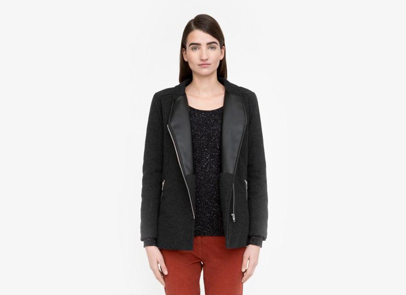Frisur – černá podzimní vlněná bunda na zip, bunda z vlny, dámská | Podzimní a zimní oblečení – dámské