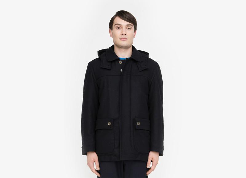 Frisur – pánská podzimní/zimní bunda z vlny, černá | Podzimní a zimní oblečení – pánské