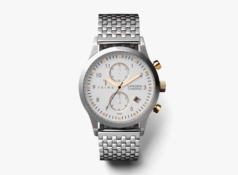 Hodinky Triwa – dámské – ocelové, stříbrné, bílý ciferník – Ivory Lansen Chrono | Náramkové luxusní hodinky