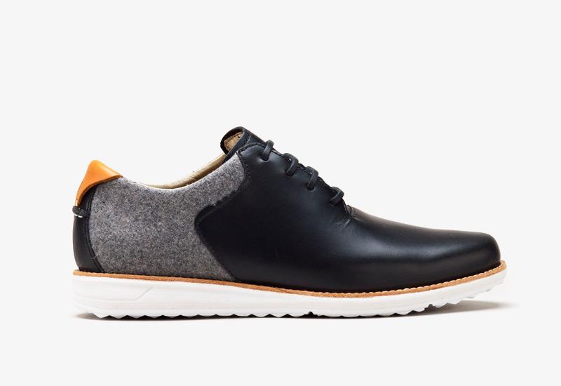 Pánské nízké podzimní boty ohw? – Rowntree, černé, kožené, plstěné | Vycházkové boty