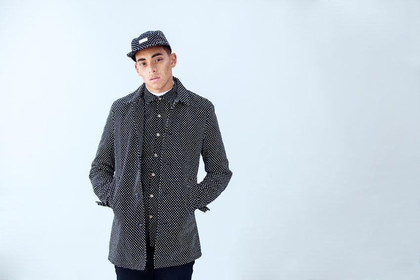 Daily Paper – černá podzimní bunda s tečkami, košile, polka dot, pánská bunda, kšiltovka | Pánské podzimní a zimní oblečení