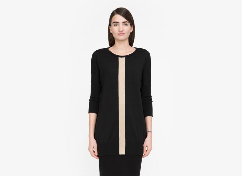 Frisur – dámský svetr – dlouhž, černý, s béžovým svislým pruhem, minimalistický svetr, jumper | Podzimní a zimní oblečení – dámské