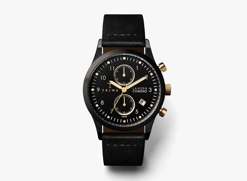 Hodinky Triwa – dámské – černé pouzdro, černý kožený náramek – Midnight Lansen Chrono | Náramkové luxusní hodinky