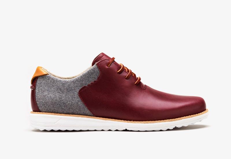 Pánské nízké podzimní boty ohw? – Rowntree, vínové, kožené, plstěné | Vycházkové boty