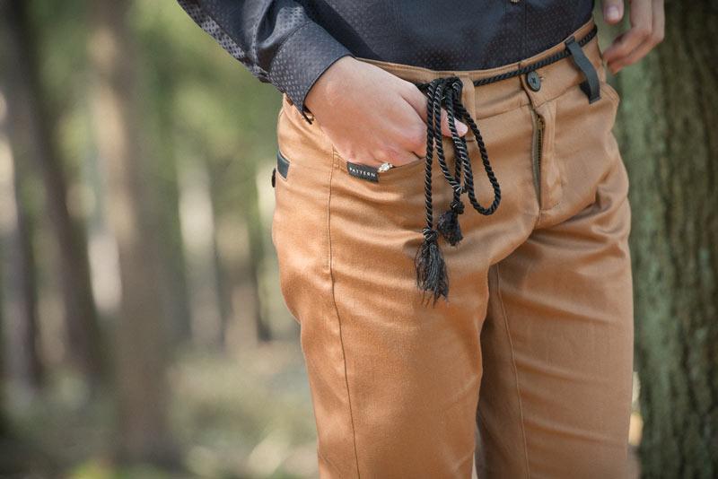 Pattern – dámské slim kalhoty, světle hnědé | Dámské oblečení