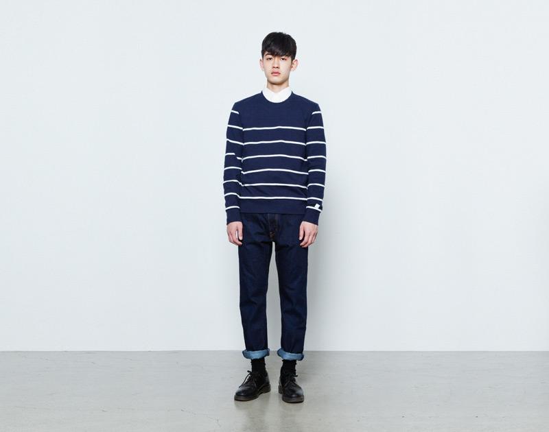 Aloye – pánský tmavě modrý svetr, bílé proužky | Japonská móda