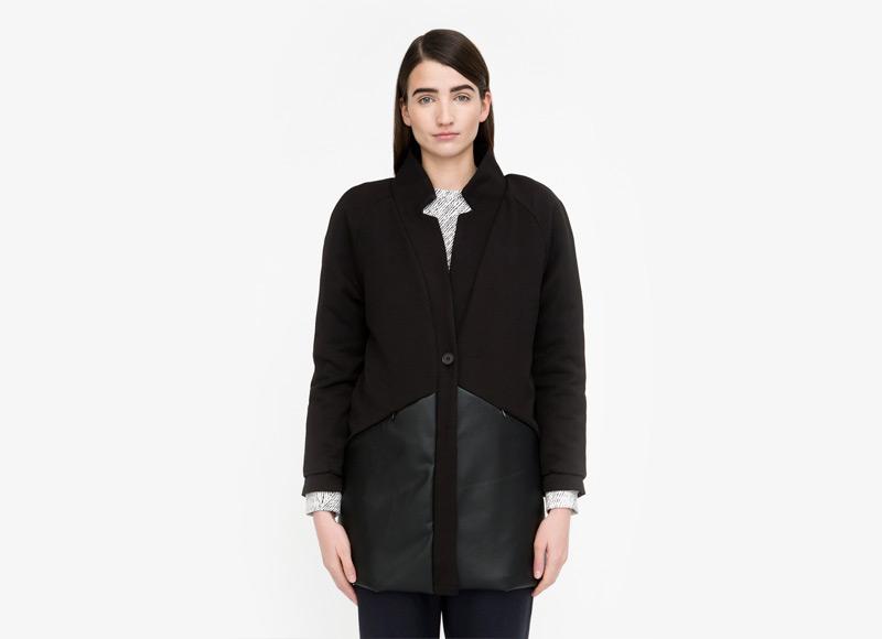 Frisur – dámská podzimní/zimní vlněná bunda, černá, dlouhá bunda z vlny, bez kapuce | Podzimní a zimní oblečení – dámské