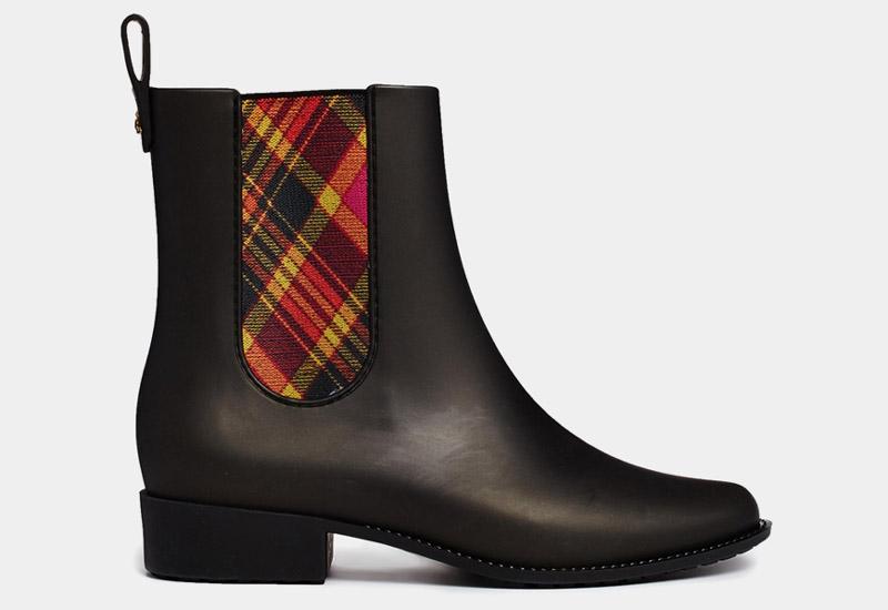 Boty perka – Chelsea Boots – dámské, kožené, – černé, barevné, Vivienne Westwood, Melissa Tartan | Kotníkové boty – dámské