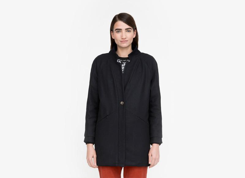 Frisur – bunda podzimní/zimní, dámská, vlněná bunda, černá, dlouhá bunda z vlny, bez kapuce | Podzimní a zimní oblečení – dámské