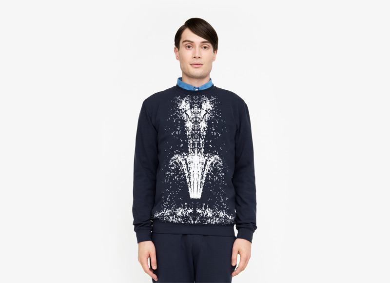 Frisur – pánská mikina, modrá, motiv fontány | Podzimní a zimní oblečení – pánské
