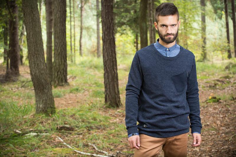 Pattern – pánský svetr, modrý | Pánské oblečení
