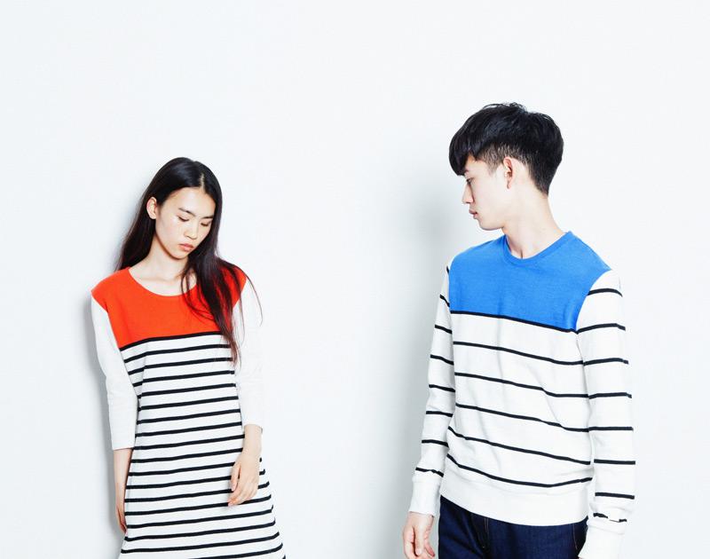 Aloye – pánské bílé/oranžové šaty s černými proužky, pánská bílá/modrá mikina s černými proužky | Japonská móda