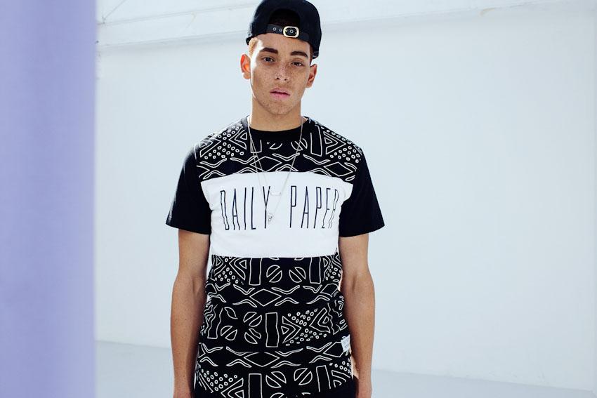 Daily Paper – tričko s potiskem, černobílé, africké vzory | Pánské podzimní a zimní oblečení