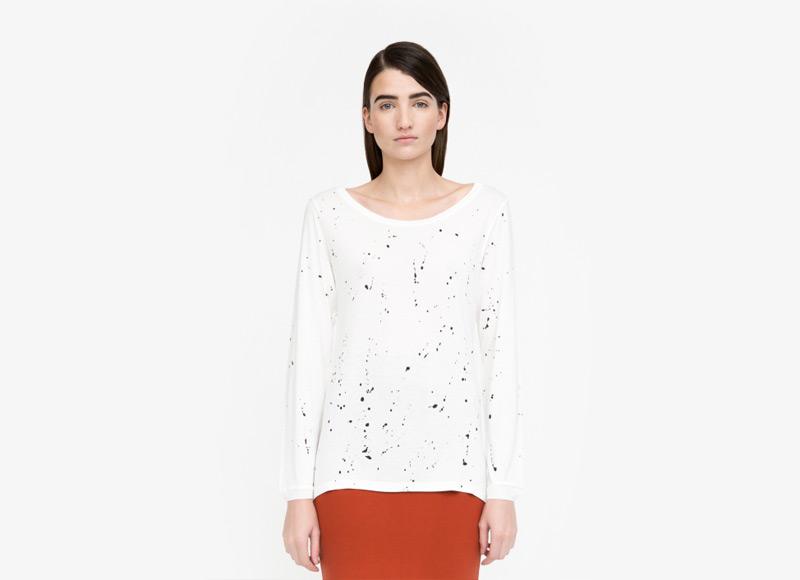 Frisur – dámské bílé tričko se skvrnami, dlouhý rukáv, viskóza | Podzimní a zimní oblečení – dámské
