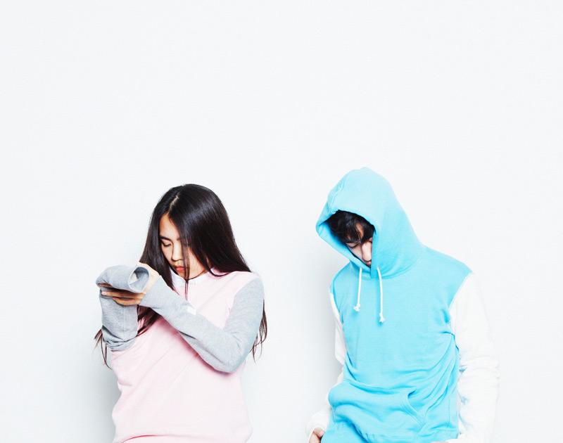 Aloye – mikiny s kapucí, růžová, tyrkysová | Japonská móda