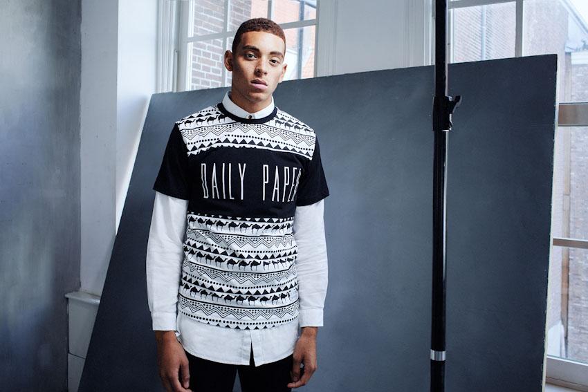 Daily Paper – černo-bílé tričko s potiskem, černobílé, africké vzory | Pánské podzimní a zimní oblečení