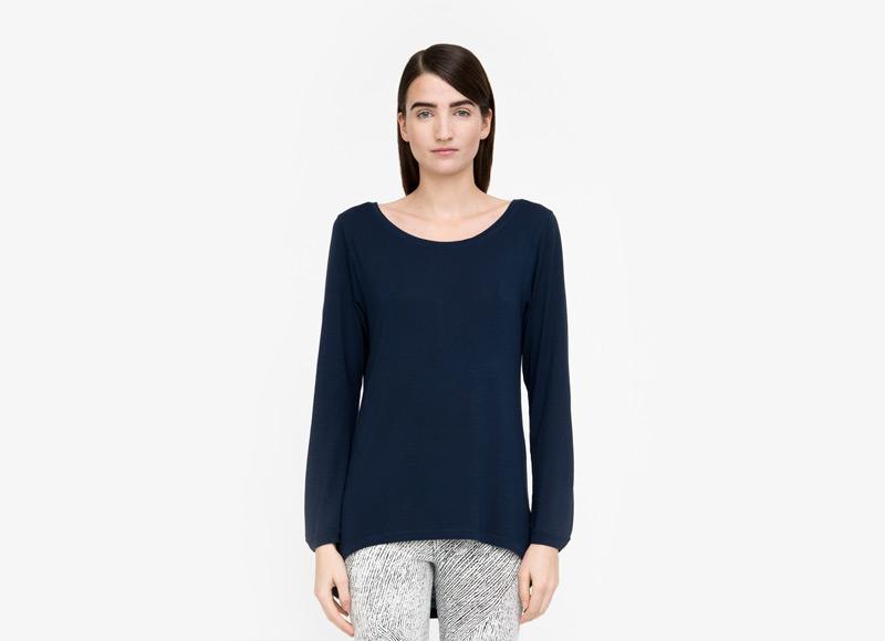 Frisur – dámské modré tričko, dlouhý rukáv, viskóza | Podzimní a zimní oblečení – dámské