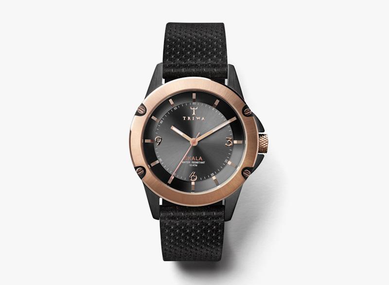 Hodinky Triwa – dámské – černé pouzdro, růžové zlato, černý kožený náramek – Ebony Skala | Náramkové luxusní hodinky