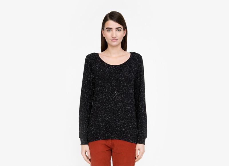 Frisur – dámské černé tričko s černými tečkami, dlouhý rukáv, viskóza | Podzimní a zimní oblečení – dámské