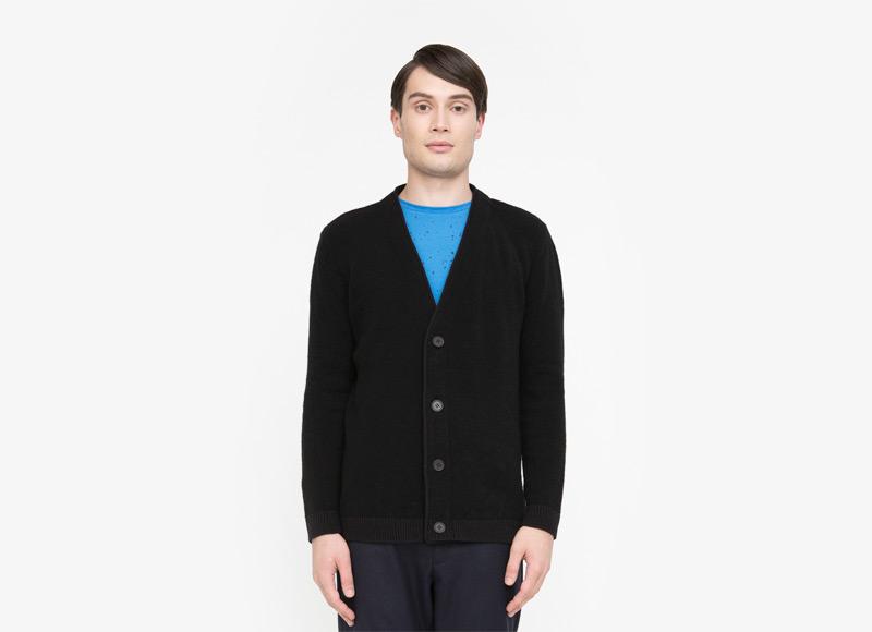 Frisur – pánský svetr s knoflíky, kardigan, cardigan, černý | Podzimní a zimní oblečení – pánské