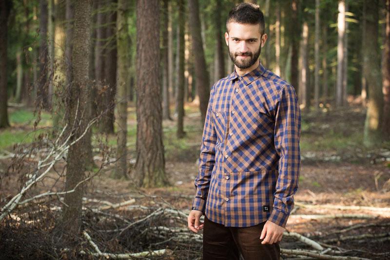Pattern – pánská kostkovaná košile, modro-hnědá, károvaná | Pánské oblečení