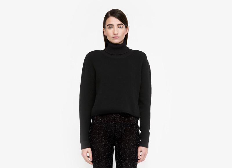 Frisur – dámský svetr s límcem, černý, rolák, jumper, dlouhý rukáv, vlněný svetr | Podzimní a zimní oblečení – dámské