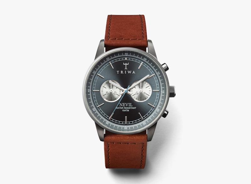 Hodinky Triwa – pánské – šedé ocelové pouzdro, hnědý kožený náramek – Ash Nevil | Náramkové luxusní hodinky