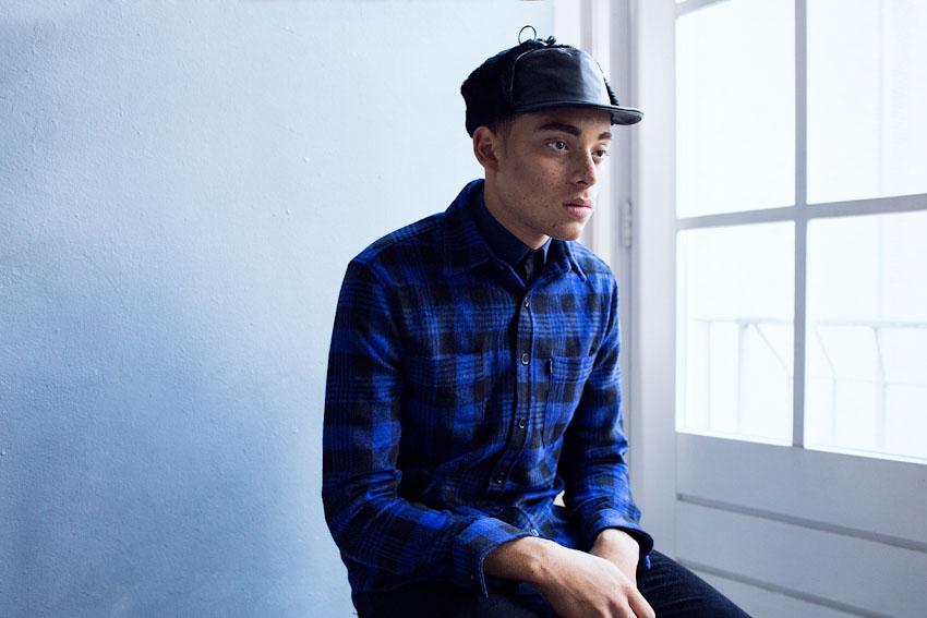 Daily Paper – pánská modrá flanelová košile s dlouhým rukávem, kostkovaná | Pánské podzimní a zimní oblečení