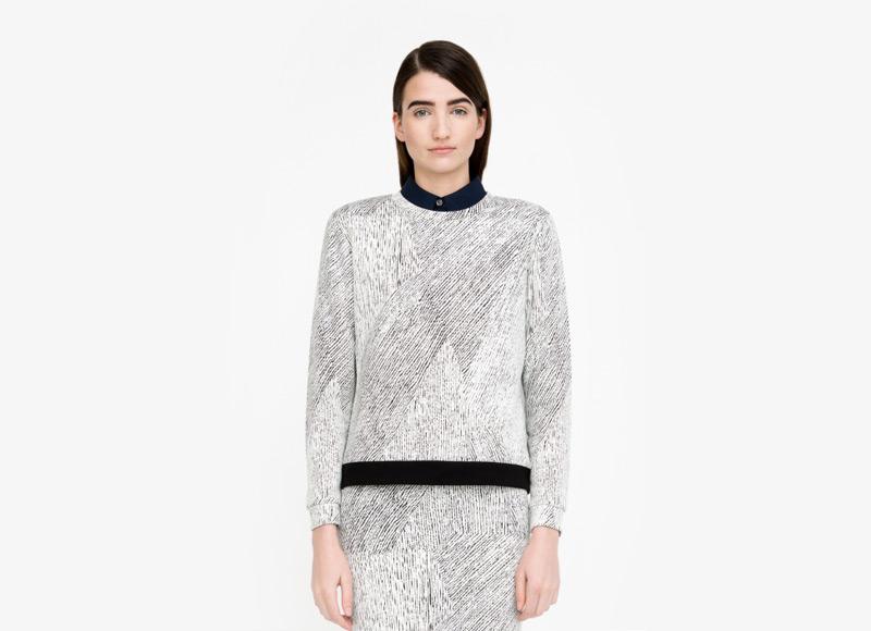 Frisur – dámský svetr do pasu, černo-bílý, vzorovaný, polyester, viskóza, jumper | Podzimní a zimní oblečení – dámské