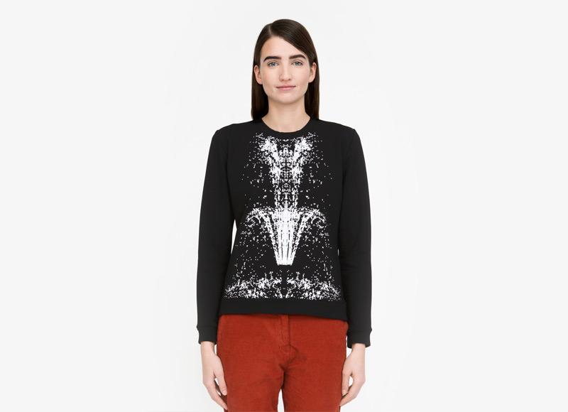 Frisur – bavlněný svetr dámský, černý, bílý motiv, jumper, mikina | Podzimní a zimní oblečení – dámské