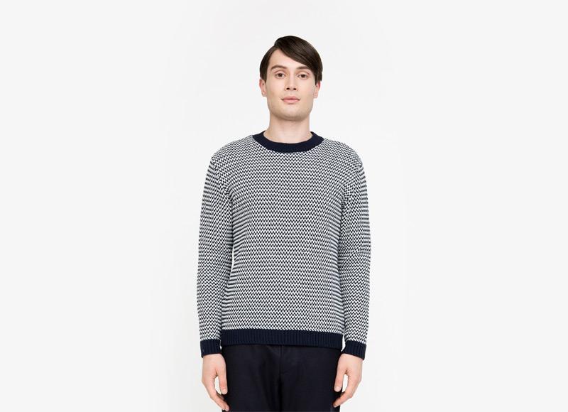 Frisur – pánský modrý svetr, černobílý vzor | Podzimní a zimní oblečení – pánské