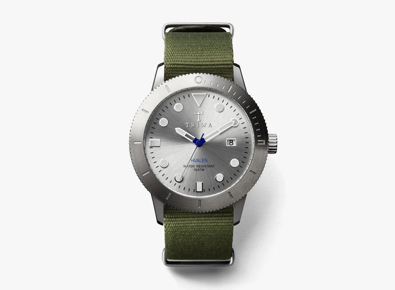 Hodinky Triwa – pánské – zelený textilní řemínek, ocelové pouzdro – Stirling Hvalen | Náramkové luxusní hodinky