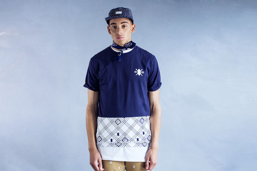Daily Paper – modro-bílé tričko s potiskem | Pánské podzimní a zimní oblečení
