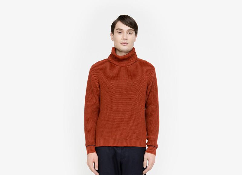 Frisur – pánský svetr se stojáčkem, červený | Podzimní a zimní oblečení – pánské