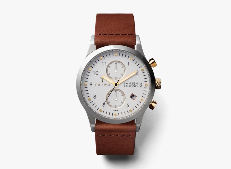 Hodinky Triwa – pánské – ocelové pouzdro, bílý ciferník, hnědý náramek z kůže – Ivory Lansen Chrono | Náramkové luxusní hodinky