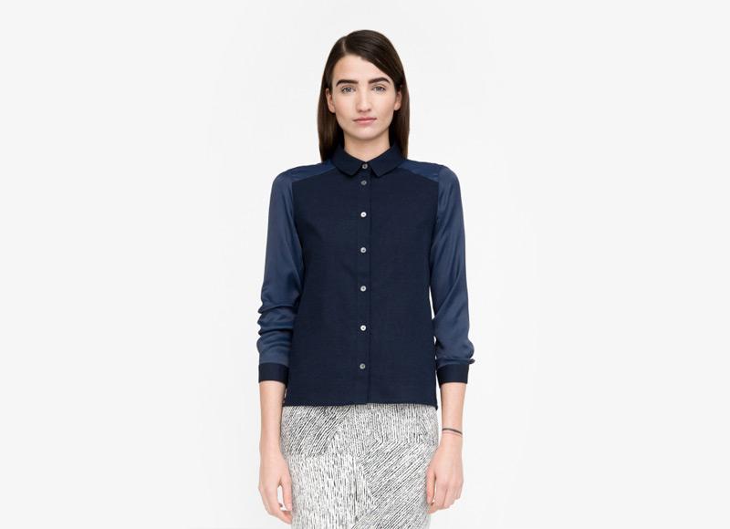 Frisur – modrá košile, dámská, dlouhý rukáv | Podzimní a zimní oblečení – dámské