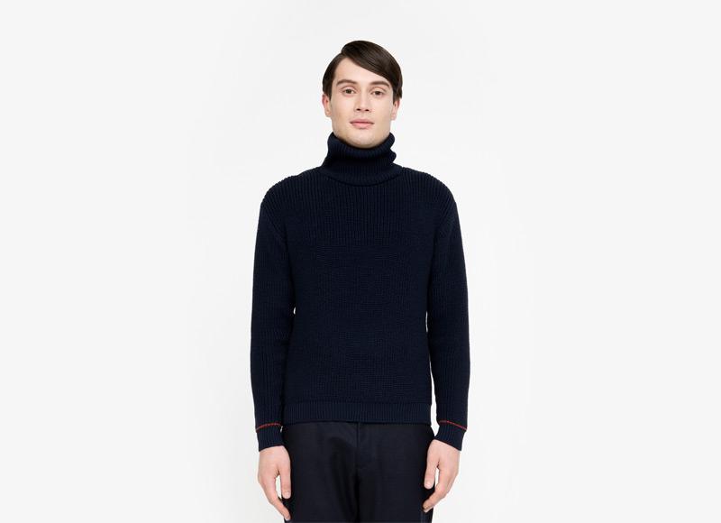 Frisur – pánský svetr se stojáčkem, černý | Podzimní a zimní oblečení – pánské