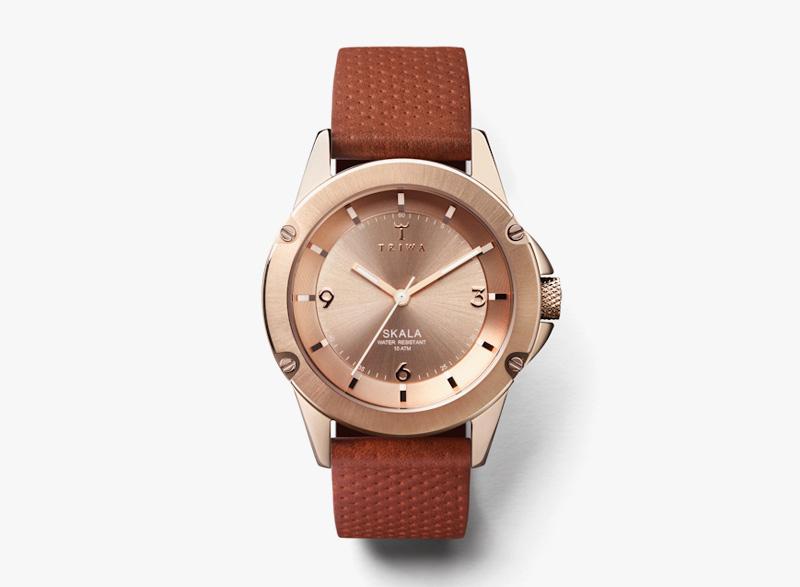 Hodinky Triwa – dámské – ocelové pouzdro – úprava růžovým zlatem, hnědý kožený náramek | Náramkové luxusní hodinky