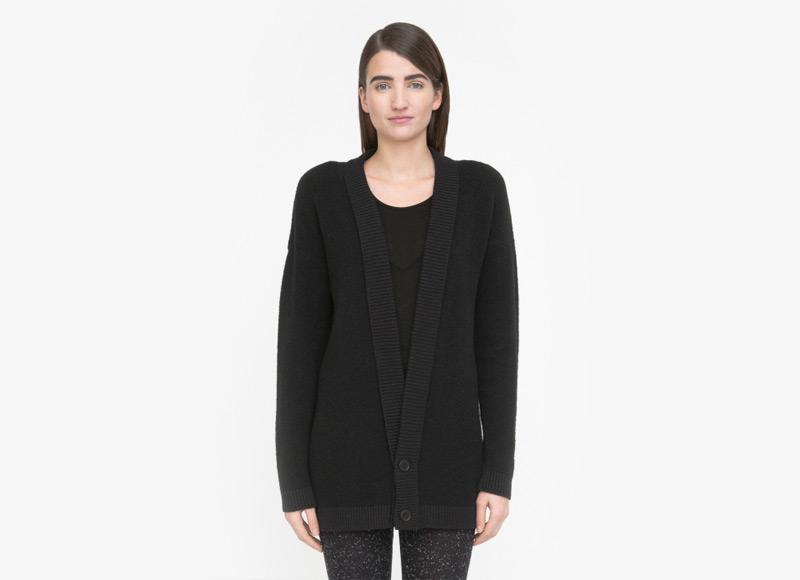 Frisur – černý dlouhý svetr, cardigan, kardigan, dámský | Podzimní a zimní oblečení – dámské