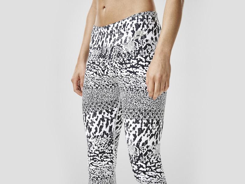 Nike – dámské bílo-černé legíny se vzorem, sportovní | Color Block